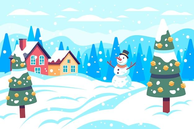 クリスマスの雪のシーン