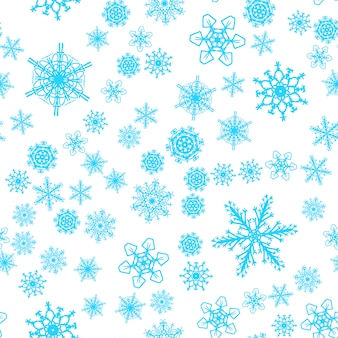 Christmas snow seamless pattern with beautiful snowflakes