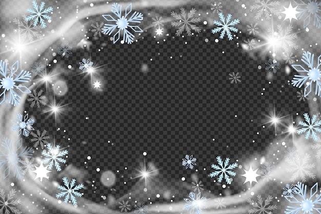 クリスマス雪風サークルフレームベクトル冬吹雪背景クリスタル霜ボーダースノーフレーク