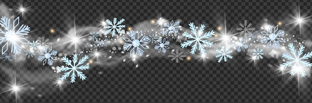 Christmas snow wind vector border winter white blizzard frame holiday snowflakes star cloud