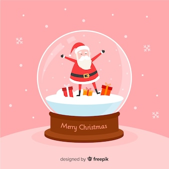 Christmas snowball globe background in flat design