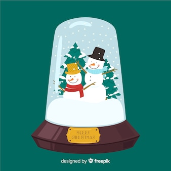 Christmas snowball globe in flat design