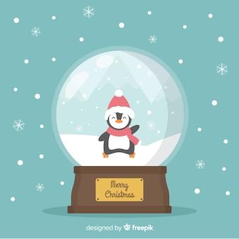 Christmas snowball globe in flat design