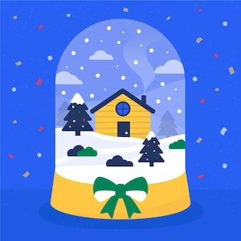 Globo di palle di neve di natale in design piatto