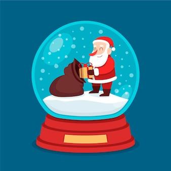 평면 디자인에 크리스마스 눈덩이 글로브