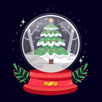フラットなデザインのクリスマススノーボールグローブ