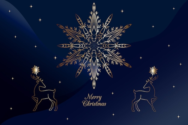 Christmas snowflake fireworks blue background in outline style