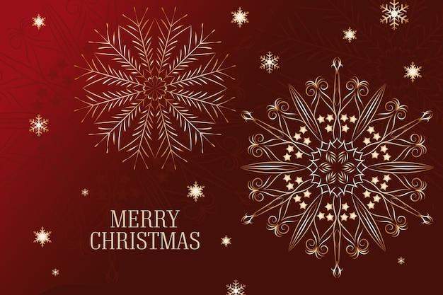 アウトラインスタイルのクリスマススノーフレーク花火赤背景