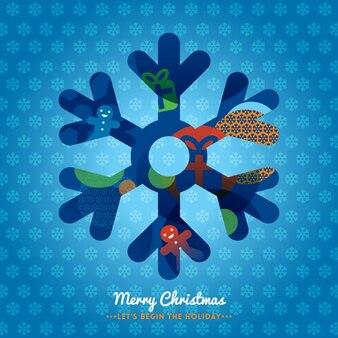 Christmas snowflake on blue background