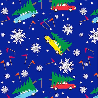 Christmas snowflakes and christmas tree delivery seamless pattern background