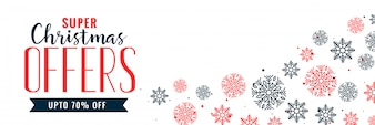 Christmas snowflakes decoration sale banner design