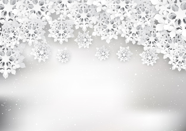 Christmas snowflakes in a papercut style