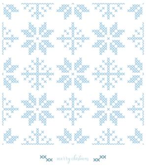 クリスマスの雪のパターン。ニットパターンデザインまたはクロスステッチ刺繡。