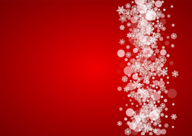 Christmas snowflakes on red background. santa claus colors. horizontal frame for winter banner, gift coupon, voucher, ads, party events with christmas snowflakes. falling snow for holiday celebration