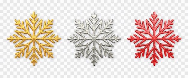 クリスマススノーフレークセット。キラキラテクスチャが分離された輝く金、銀、赤の雪片
