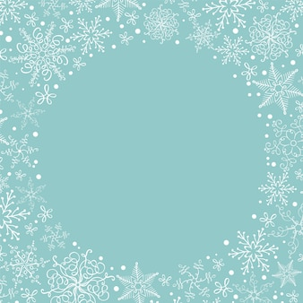 Christmas snowflakes wreath with copyspace. greeting card