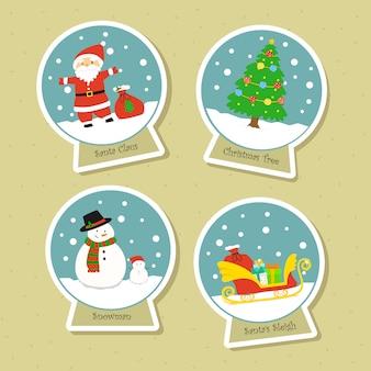 Christmas snowglobe sticker vector collection