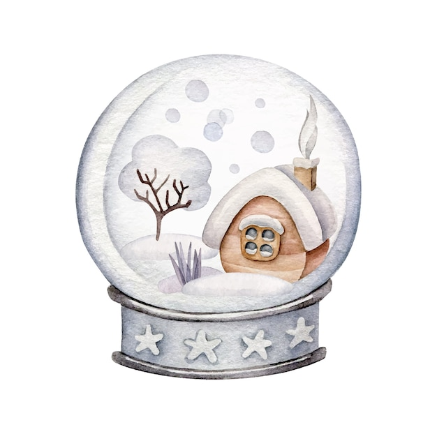 Christmas snowglobe with snowy house. winter landscape.