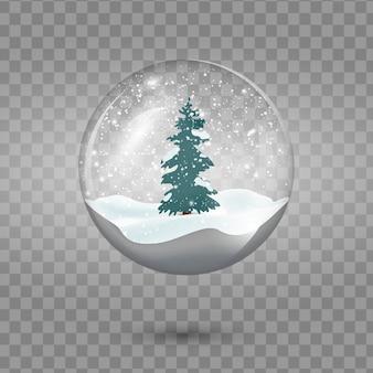 Снежный шар рождества при дерево изолированное на прозрачной предпосылке.