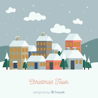 Christmas snowing town background
