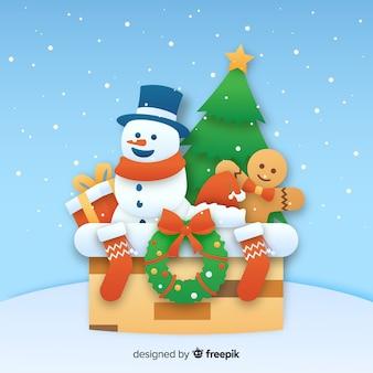 Рождественский снеговик фон в бумажном стиле