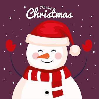 クリスマスの雪だるま、新年のバナーとメリークリスマスのお祝いのデザイン