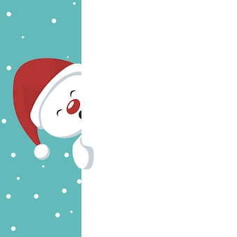 Christmas snowman card with white background to write