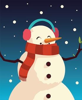 Рождественский снеговик персонаж мультфильма украшение снег иллюстрация