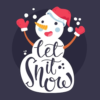 Christmas snowman character with lettering