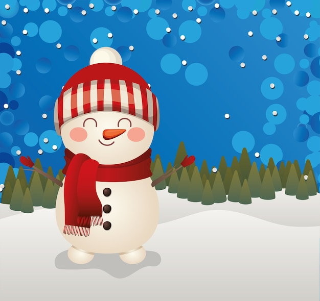Christmas snowman  in a forest background  illustration