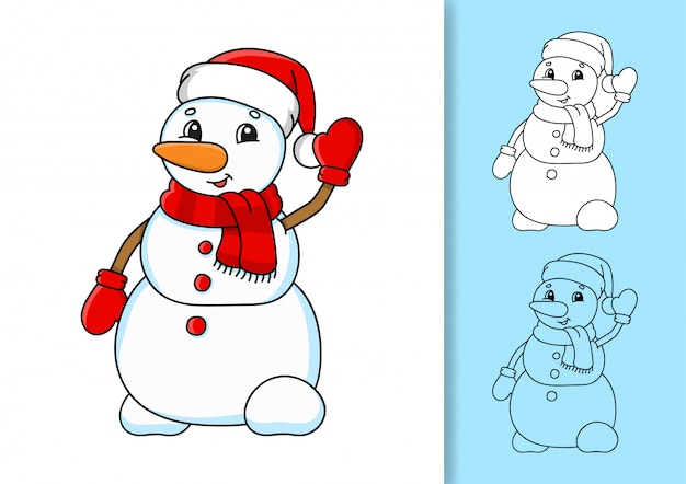 Christmas snowman in a hat and scarf waving.