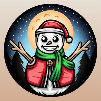 Christmas snowman illustration.