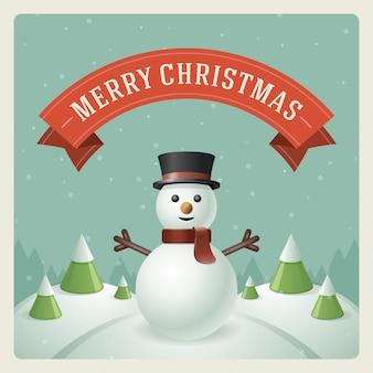Christmas snowman on landscape background