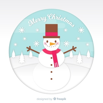 Christmas snowman in paper style