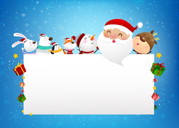 Christmas snowman santa claus and animal cartoon smile