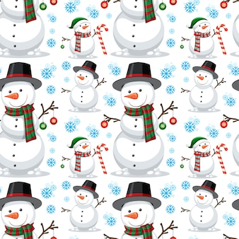 Christmas snowman seamless pattern