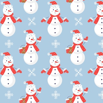クリスマス雪だるまシームレスなベクトルパターン。クリスマスプレゼントの青い背景