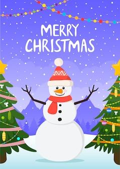 冬の背景にクリスマスツリーとクリスマス雪だるま