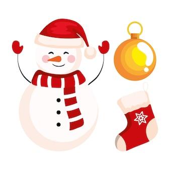 靴下とボールの装飾、新年のバナーとメリークリスマスのお祝いのデザインとクリスマス雪だるま
