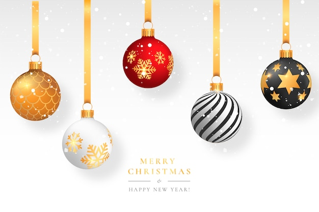 Christmas snowy background with elegant balls