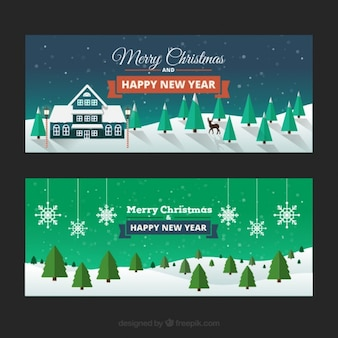 Christmas snowy landscape banners pack Free Vector