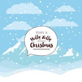 Christmas snowy landscape isolated icon design