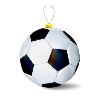 Рождественский футбольный мяч как рождественские украшения. иллюстрация