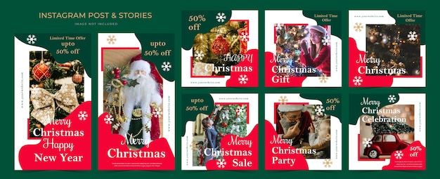 ストーリーとポストプロモーションのためのクリスマスソーシャルメディア広告テンプレートバナー。