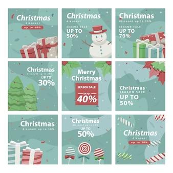 크리스마스 소셜 미디어 피드 세트