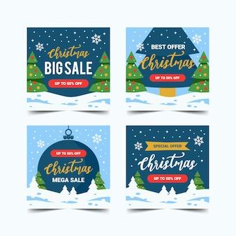 クリスマスソーシャルメディアinstagramの投稿正方形の背景コレクション