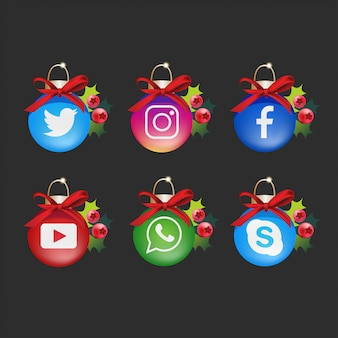 Christmas social media logo collection with decorations
