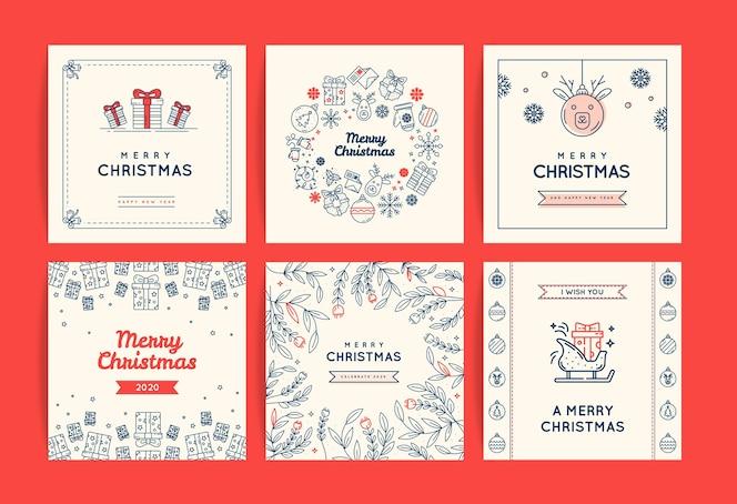 Christmas social media template set