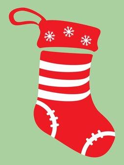 緑の背景に分離された赤と白の色のクリスマス靴下アイコン。ベクトルイラスト
