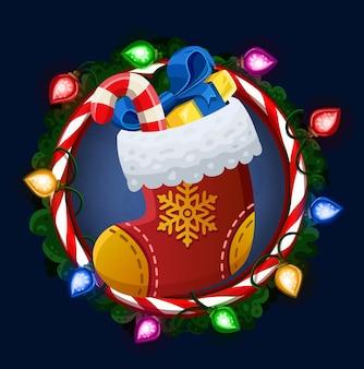 Рождественский носок в рамке